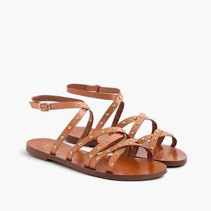 New JCREW Cross-strap Flat Sandals Studded Leather